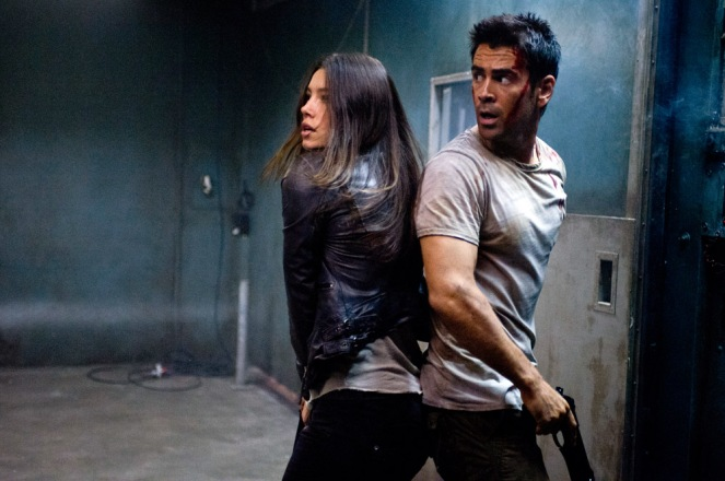Jessica Biel (left) and Colin Farrell star in Columbia Pictures' action thriller TOTAL RECALL.
