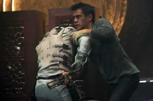 Quaid (Colin Farrell) fights off Federal police inside the Rekall Tripping Den in Columbia Pictures action thriller TOTAL RECALL.