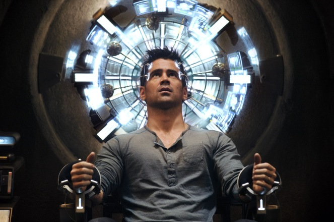 Quaid (Colin Farrell) seated in the Mind Trip Chair inside the Rekall Tripping Den in Columbia Pictures' action thriller TOTAL RECALL.